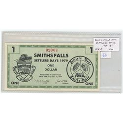 Smith Falls Ontario Settlers Days 1979 $1 Scrip. Serial Number 02008. Old train on back. AU.
