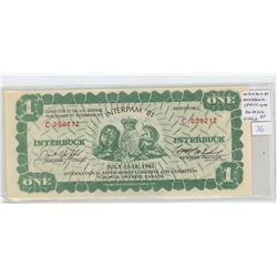 INTERPAM $1 INTERBUCK Scrip from the International Paper Money Congress & Exhibition, Toronto in 198
