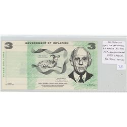 Australia. Political Satire $3 Scrip. Government of Inflation. As Phony as the McMahon Government. V