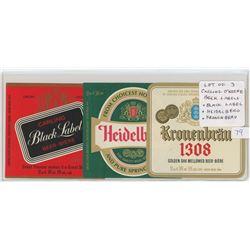 Lot of 3 Carling-O'Keefe Beer Labels: Black Label, Heidelberg, Kronenbrau. Unc.