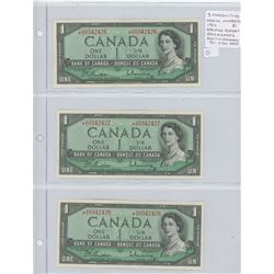 Lot of 3 Consecutive Serial Number 1954 Modified Portrait $1 notes. All are *A/A Replacement notes.