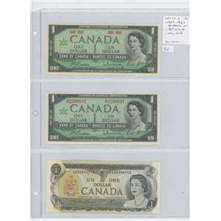 Lot of 3 different Canadian $1 notes: 1867-1967 Beattie-Rasminsky No Serial Numbers; 1967 Beattie-Ra