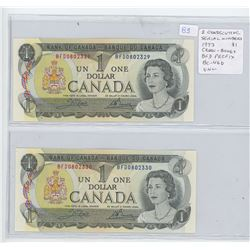 Lot of 2 ConsecutiveSerial Number 1973 $1 notes. Crow-Bouey signatures. BFD Prefix. 0802329 & 0802