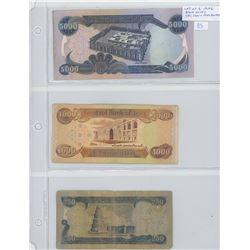 Lot of 3 Central Bank of Iraq bank notes. 250 dinars, 1000 dinars & 5000 dinars.