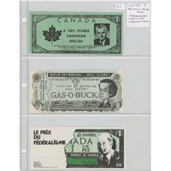 Lot of 3 Canadian Political Satire notes. John Diefenbaker, Joe Clark, Pierre Trudeau.