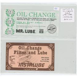 Lot of 2 Oil Change Scrip. 1994 Mr. Lube & 1979 Instalube. Both Unc.