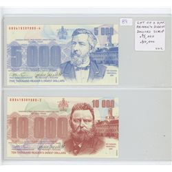 Lot of different Reader's Digest Dollars 2001 Scrip. $5,000 (sailing ship) & $10,0000 (train). Both