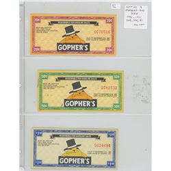 Lot of 3 Gopher's Gas Scrip. 1990-1991 including 20 cents, 50 cents and $1.00. All Unc.
