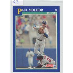 Paul Molitor, Third Base, Milwaukee Brewers. ML Baseball card. 1991 Score. Gem Unc.