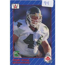 Roger Aldag, OG, Saskatchewan Roughriders. CFL Football card. 1991 AWSports. Gem Unc.