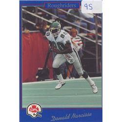 Donald Narcisse, WR, Saskatchewan Roughriders. CFL Football card. 1991 Jogo. Gem Unc.