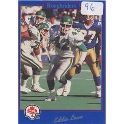 Eddie Lowe, LB, Saskatchewan Roughriders. CFL Football card. 1991 Jogo. Gem Unc.