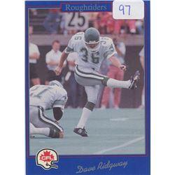 Dave Ridgeway, K, Saskatchewan Roughriders. CFL Football card. 1991 Jogo. Gem Unc.