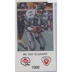 Ray Elgaard, SB, Saskatchewan Roughriders. CFL Football card. 1988 Vachon. Gem Unc.