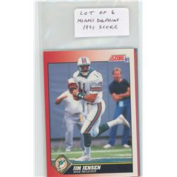 Lot of 6 Miami Dolphins, NFL Football cards, including Jim Jensen & Jeff Cross. All 1991 Score. All