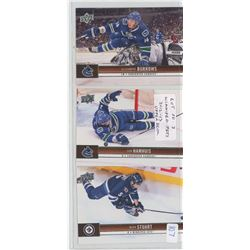 Lot of 3 Winnipeg Jets, NHL Hockey cards including Alexander Burrows, Don Hamhuis & Mark Stuart. All