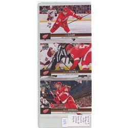 Lot of 3 Detroit Red Wings, NHL Hockey cards including Dan Cleary, Valtteri Filppula & Niklas Kronwa
