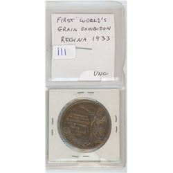 1933 First World's Grain Exhibition, Regina, medal. Beautiful large bronze medal. Uncirculated.