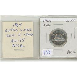 1964 Extra Water Lines Nickel 5 Cents. Key Date. Scarce. AU-55. Nice.