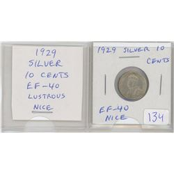 1929 George V Silver 10 Cents. The year of the Great Depression. EF-40. Lustrous. Nice.