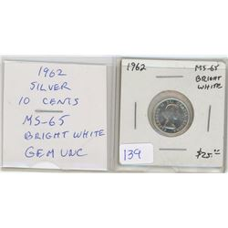 1962 Silver 10 Cents. MS-65. Bright White. Gem Uncirculated. Nice.