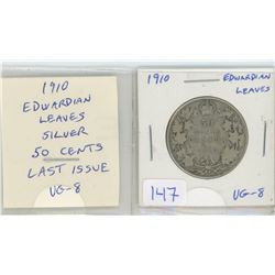 1910 Edwardian Leaves Silver 50 Cents. Last year of issue of Edward VII. VG-8.