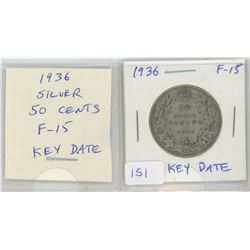 1936 George V Silver 50 Cents. The last year of issue of George V. F-15. Key Date.