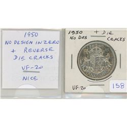 1950 No Design in Zero Silver 50 Cents. A scarce variety also includes reverse Die Cracks. VF-20.