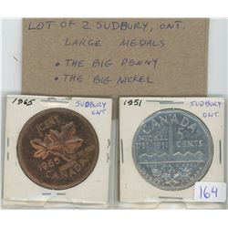 Lot of 2 Sudbury, Ontario large medals: The Big Penny & The Big Nickel.