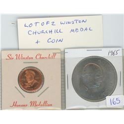 Lot of 2 Winston Churchill medal & coin. The bronze medal depicts Churchill with reverse that reads