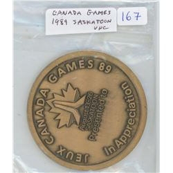 Canada Games 1989 Saskatoon, Saskatchewan. Large brass sports medal measures 60mm and weighs 80 gram