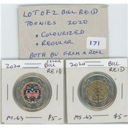 Lot of 2 Bill Reid toonies. One colourized, the other regular. Both BU from an original roll.
