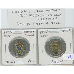 Lot of 2 V For Victory toonies. One colourized, the other regular. Both BU from an original roll.