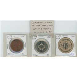 Lot of 3 Canadian Coins of the Year (COTY) Club medals & wood. Includes 1967 10th Anniversary bronze
