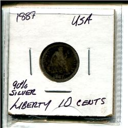 1887 USA Liberty Ten Cents