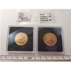 2005 and 2009 Gold Plated Quarters - USA