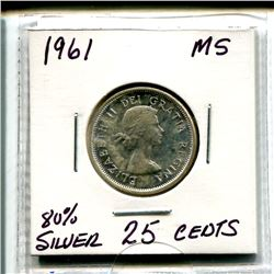 1961 Twenty Five Cents - 80% Silver