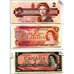 Lot of (3) Two Dollar Bills