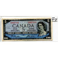 "1954 ""Devil Face"" Five Dollar Bill"