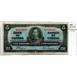 1937 Five Dollar Bill