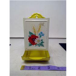 Yellow White Flowered Match Box Holder