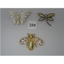 COSTUME JEWELRY - BROOCHES - Butterfly,  Bee,  Dragonfly