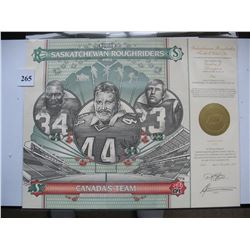 2007 SASKATCHEWAN ROUGHRIDERS - CLASS A SHARE - CERTIFICATE - 11 by 14 inches