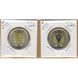2020 END of SECOND WORLD WAR - 75th ANNIVERSARY - Coloured & Non Coloured - $2.00 Coins - Uncirculat