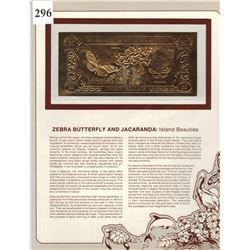 GOLD BANK NOTE - ANTIGUA & BARBUDA - ZEBRA BUTTERFLY - 30 DOLLARS - LEGAL TENDER