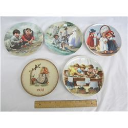 5 Collectors Plates Children boxes and COA