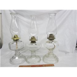 3 Antique Coal Oil Lamps Complete no damage