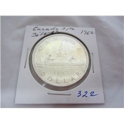 Canadian Silver Dollar 1962