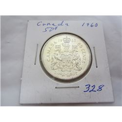 Canadian 1960 silver fifty cent piece