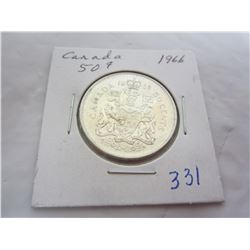 Canadian 1966 silver fifty cent piece
